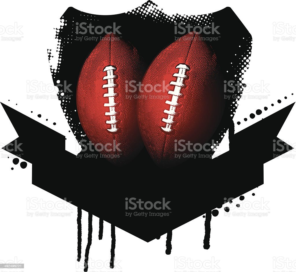 american football shield with balls vector art illustration