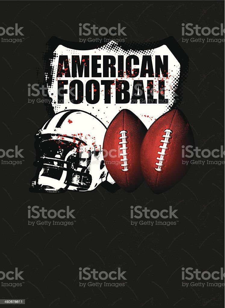 american football shield with steel background vector art illustration