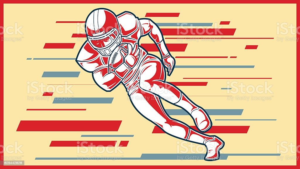 American football sign. A player running with the ball. vector art illustration