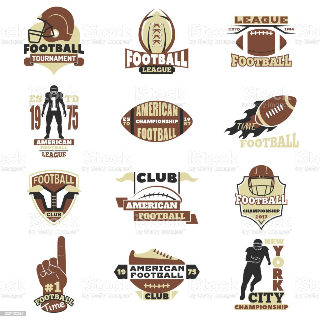 American football sign vector set. vector art illustration