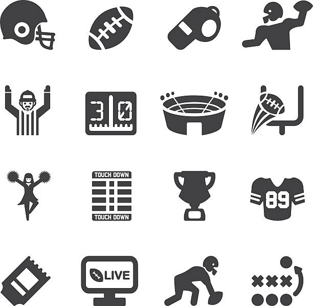 American Football Silhouette icons | EPS10 American Football Silhouette icons  stadium stock illustrations