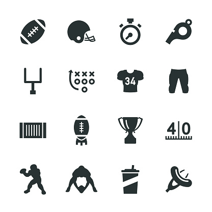 American Football Silhouette Icons