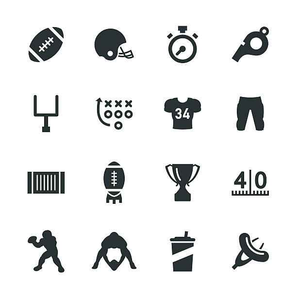 american football silhouette icons - football stock illustrations, clip art, cartoons, & icons