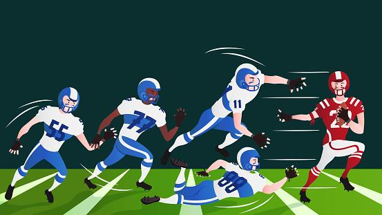 American football sportsman player on stadium running in action.