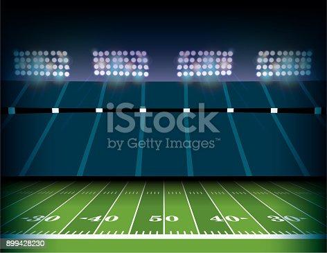 American Football Stadium and Field Background Illustration