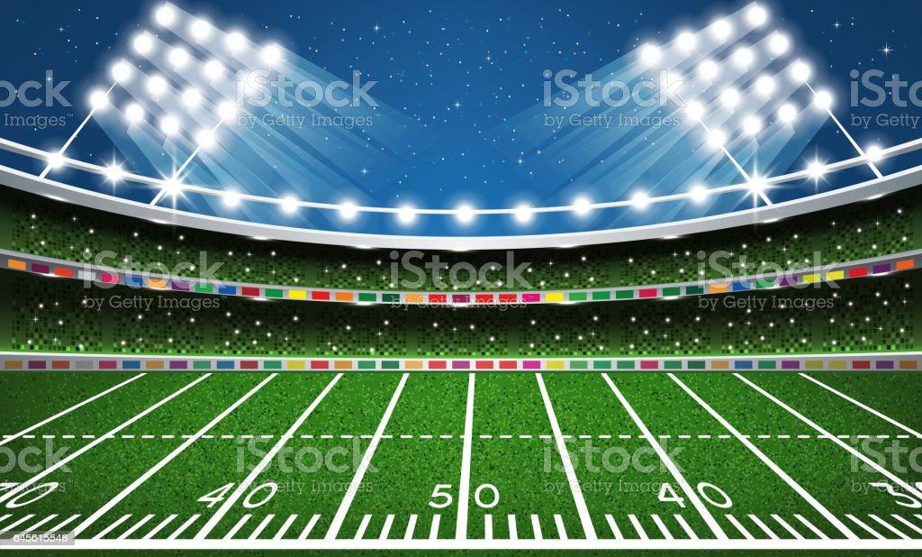 American Football Stadium. Arena. vector art illustration