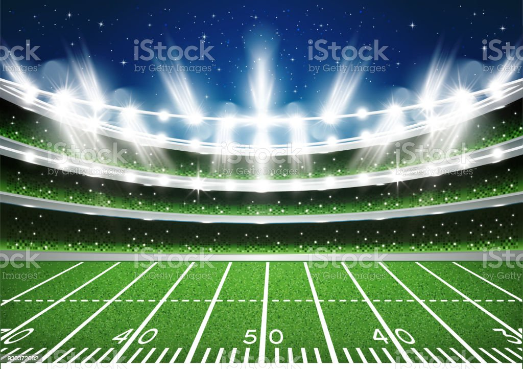 American Football Stadium Arena. vector art illustration