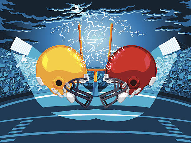 American Football Stadium Helmet Lightning Vector Illustration of an American Football Stadium. Two opposing helmets are facing each other, a lightning accentuates a dramatic Football Night. For easy editing every piece is on a separate layer: clouds, lightning, goal, helmets, crowd, flags, stadium, sky. The colors in the .eps-file are ready for print (CMYK). Included files: EPS (v8) and Hi-Res JPG. american football stock illustrations