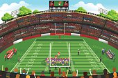 A vector illustration of American football stadium scene