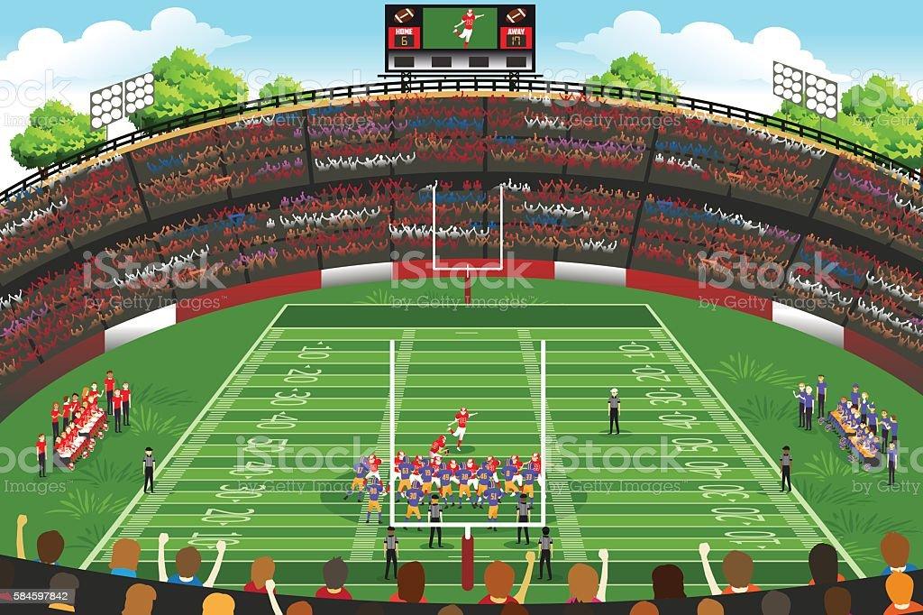 American Football Stadium Scene vector art illustration