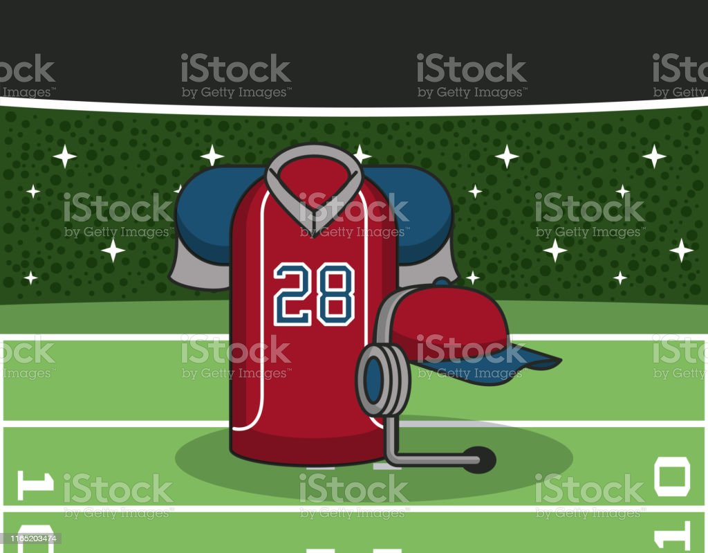 American football stadium with sport equipment, tshirt and hat with...