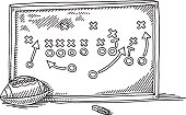 Hand-drawn vector drawing of a American Football Strategy Board. Black-and-White sketch on a transparent background (.eps-file). Included files are EPS (v10) and Hi-Res JPG.
