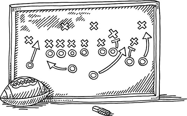 American Football Strategy Board Drawing Hand-drawn vector drawing of a American Football Strategy Board. Black-and-White sketch on a transparent background (.eps-file). Included files are EPS (v10) and Hi-Res JPG. american football stock illustrations