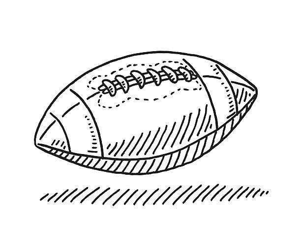 American Football Symbol Drawing Hand-drawn vector drawing of an American Football Symbol. Black-and-White sketch on a transparent background (.eps-file). Included files are EPS (v10) and Hi-Res JPG. american football stock illustrations