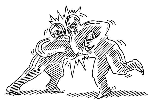 American Football Tackle Two Players Drawing Hand-drawn vector drawing of an American Football Tackle with Two Players. Black-and-White sketch on a transparent background (.eps-file). Included files are EPS (v10) and Hi-Res JPG. running stock illustrations