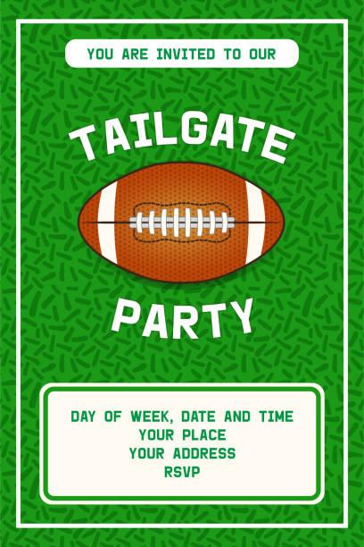 ilustrações de stock, clip art, desenhos animados e ícones de american football tailgate party flyer design - primeiro down futebol americano