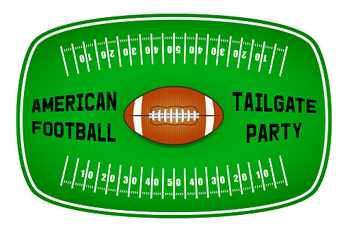 American football tailgate party label design