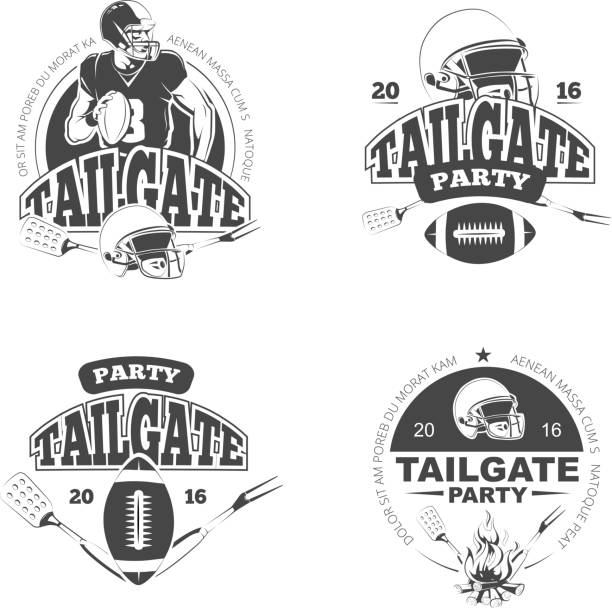 American football tailgate party vintage labels vector set American football tailgate party vintage labels set. Sport game and recreation. Vector illustration safety american football player stock illustrations