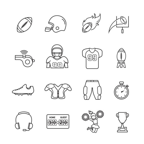 American Football Thin line Icons American Football Thin line Icons, Set of 16 editable filled, Simple clearly defined shapes in one color. american football league stock illustrations