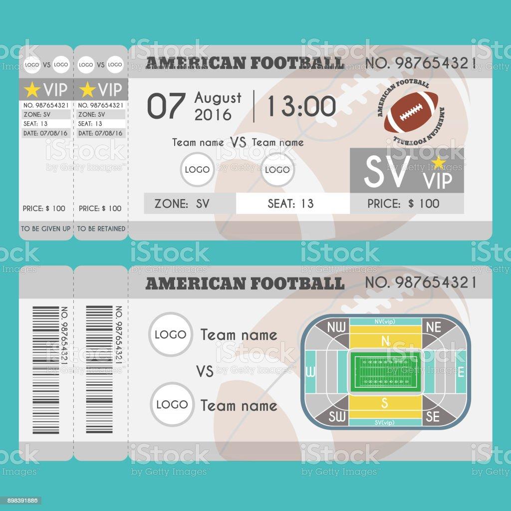 American football Ticket Modern Design vector art illustration