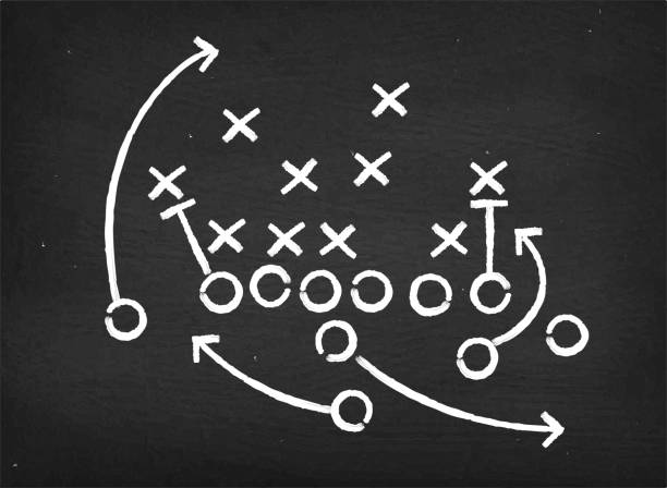 american football touchdown strategy diagram on chalkboard - football stock illustrations, clip art, cartoons, & icons