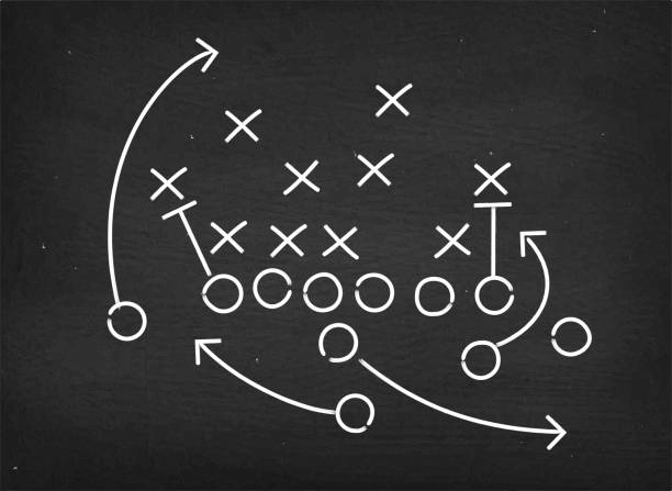 american football touchdown strategy diagram on chalkboard - 策略 幅插畫檔、美工圖案、卡通及圖標