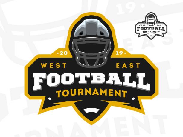 stockillustraties, clipart, cartoons en iconen met american football toernooi embleem, logo. vectorillustratie. - kampioenschap
