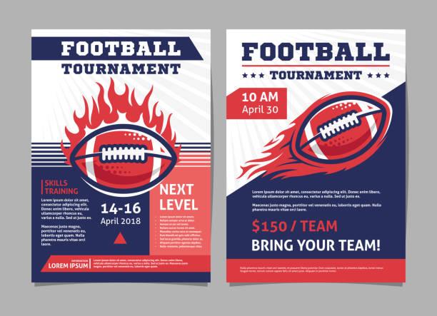 ilustraciones, imágenes clip art, dibujos animados e iconos de stock de carteles del torneo de fútbol americano, folleto con bola de fútbol americano - diseño vectorial de plantilla - football