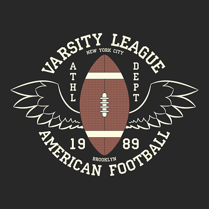 American football varsity league print logo. Graphic design for t-shirt, sport apparel. Typography for clothes. Vector