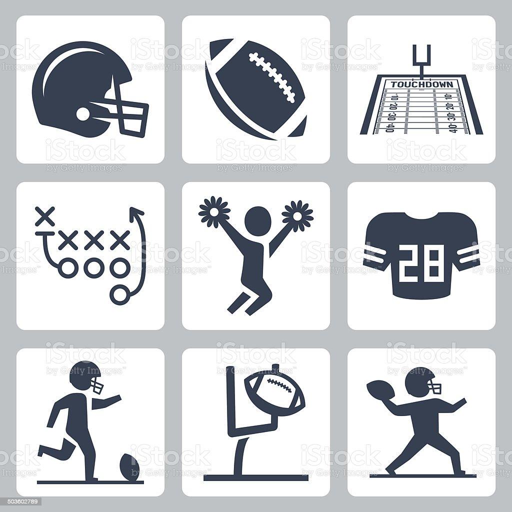 American football vector icons set vector art illustration