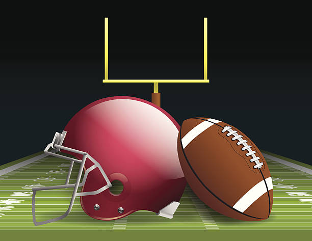 American Football Vector illustration of an american football helmet, ball, and field. EPS 10. File contains transparencies and gradient mesh. ncaa college football stock illustrations