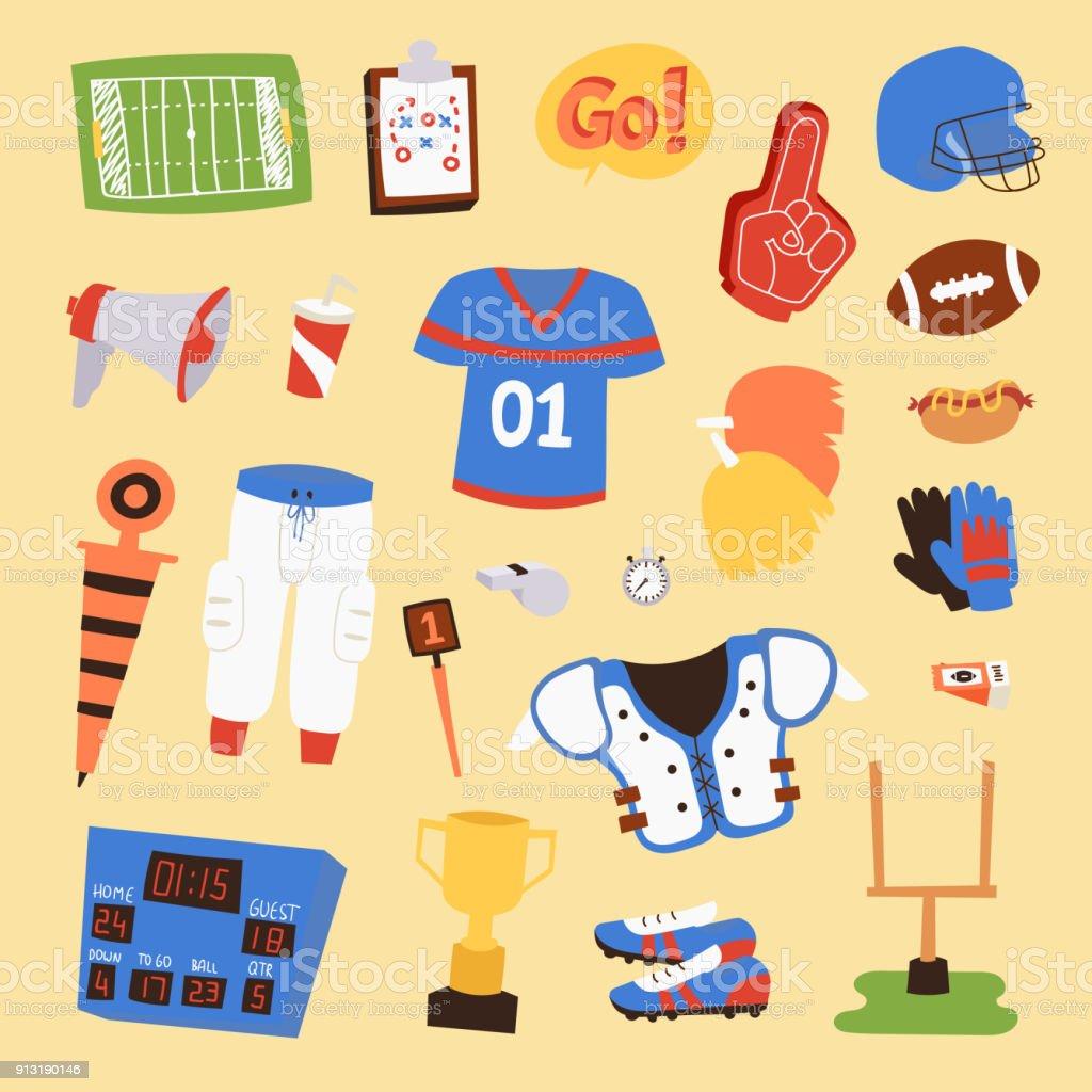 5e8a59312 Futebol americano jogador uniforme esporte icons vector isolados no fundo.  Ícones de capacete do esporte