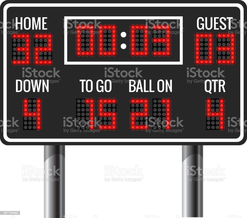 American football vector scoreboard vector art illustration