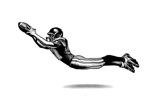 Engraving illustration of an American Football Wide Receiver making great catch