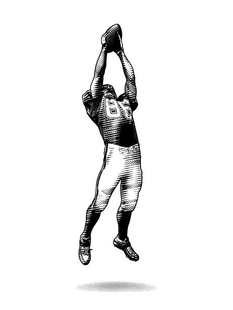 American Football Wide Receiver making great catch Engraving illustration of an American Football Wide Receiver making great catch wide receiver athlete stock illustrations