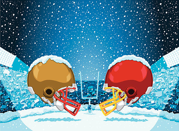 """American Football Winter Snow Helmet Stadium """"Vector Illustration of an American Football Stadium in winter with a lot of snow. Two opposing helmets are facing each other. For easy editing every piece is on a separate layer: snow, goal, helmets, crowd, flags, stadium, sky. The colors in the .eps-file are ready for print (CMYK). Included files: EPS (v8) and Hi-Res JPG."""" american football stock illustrations"""