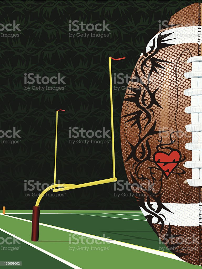 American Football With Goal Post and Tattooed Heart Background royalty-free stock vector art