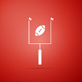 American football with goal post icon isolated on red background. Flat design. Vector Illustration