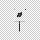 American football with goal post icon isolated on transparent background. Flat design. Vector Illustration