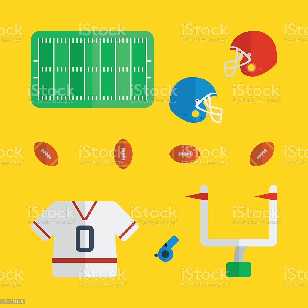 American footballl icon series in flat colors style