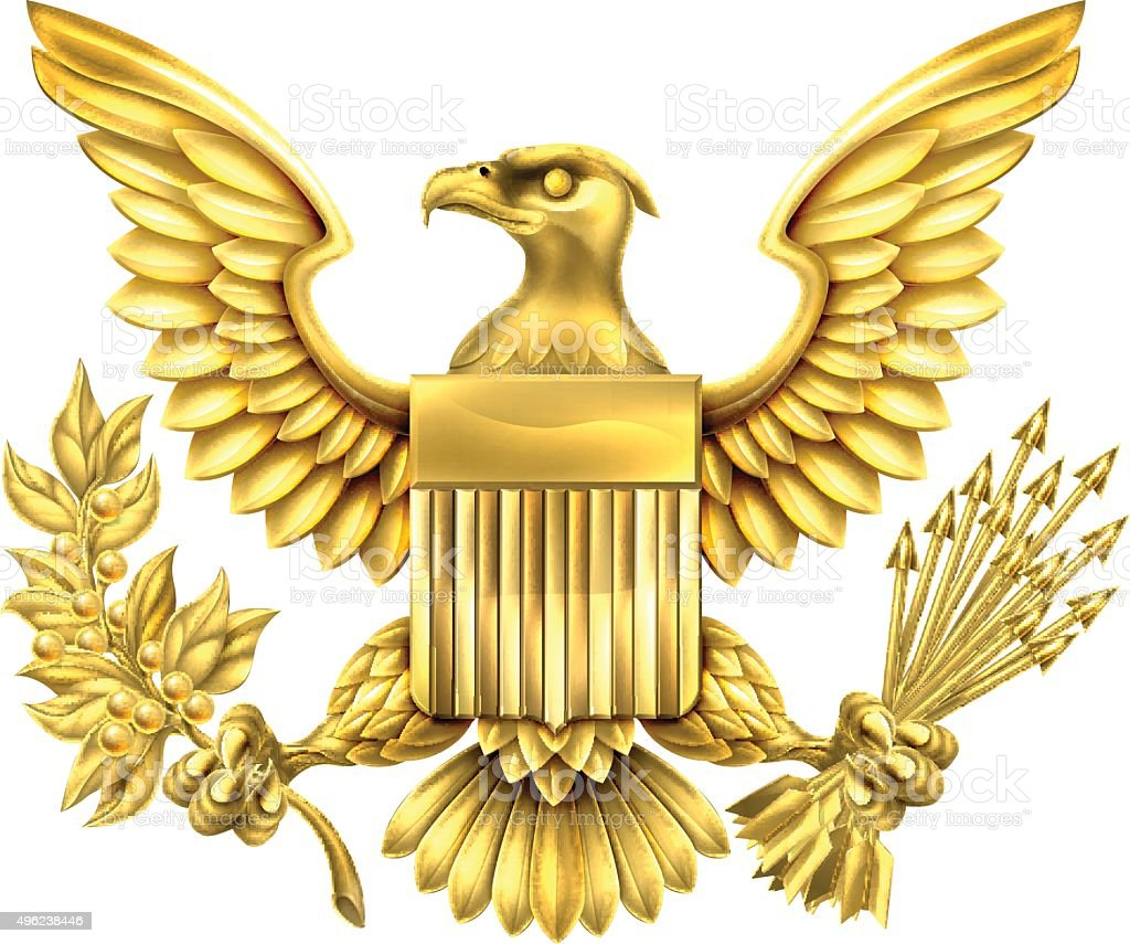 American Gold Eagle vector art illustration