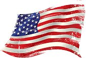 flag of  USA  in the wind with a texture.