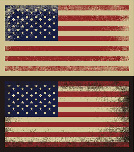 American grunge flag American grunge vintage flag in two variants. distressed american flag stock illustrations