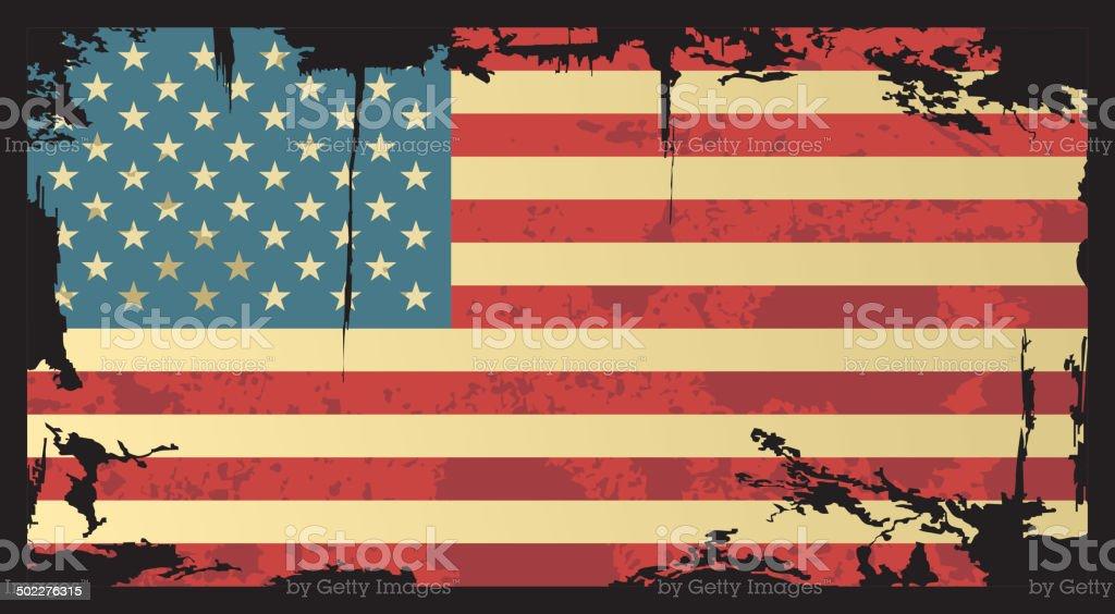 American grunge flag. vector art illustration