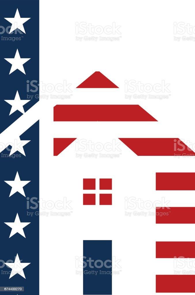 American h letter of house  Design vector art illustration