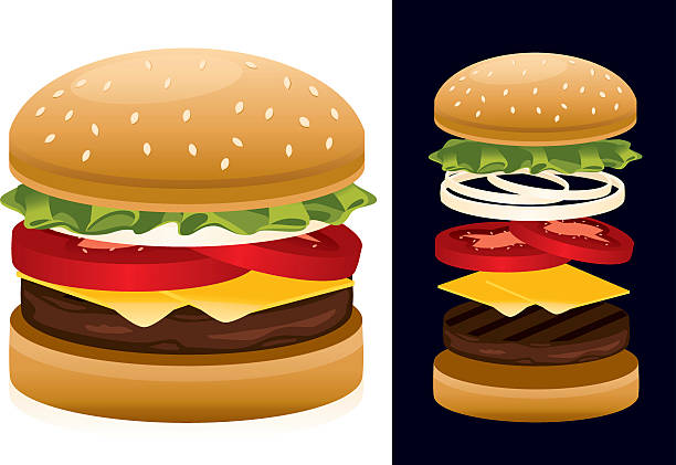 stockillustraties, clipart, cartoons en iconen met american hamburger - hamburgers