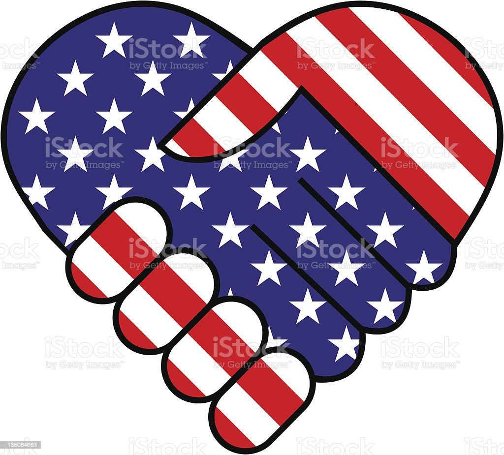 American hand shake vector art illustration