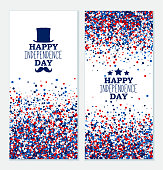 American Happy Independence Day banners set. 4th July festive greeting cards with top hat, mustache, star. Independence Day concept design kit in traditional American colors - red, white, blue.