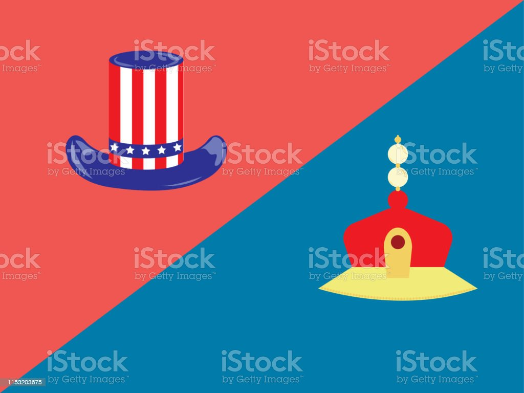 American Hat And Chinese Emperor Hatamerica And Chinavector