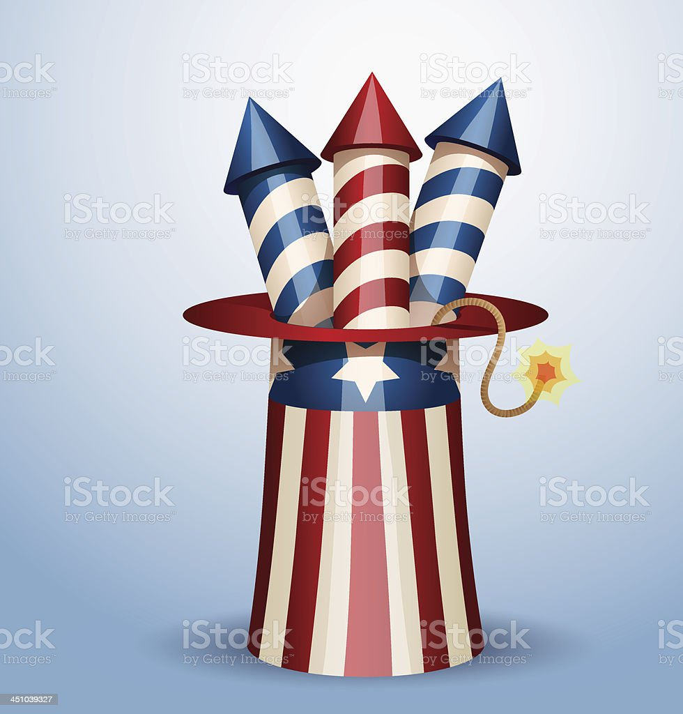 American hat with firework royalty-free stock vector art